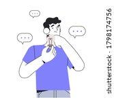 man holding broken light bulb...   Shutterstock .eps vector #1798174756