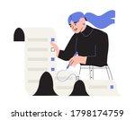 woman put a tick on to do list. ... | Shutterstock .eps vector #1798174759