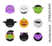 cute halloween round vector...   Shutterstock .eps vector #1798191949
