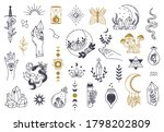 witch magic symbols. doodle... | Shutterstock . vector #1798202809