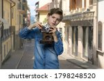 Little Boy Using Film Camera O...