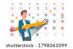 man circling event date... | Shutterstock .eps vector #1798261099