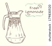 Doodle hand drawn jug of fresh home made lemonade on light background. Vector illustration for restaurant or cafe menu. - stock vector