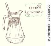 Doodle hand drawn jug of fresh home made lemonade on light background. Vector illustration for restaurant or cafe menu. - stock vector