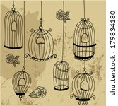 doodle cages with birds    Shutterstock .eps vector #179834180