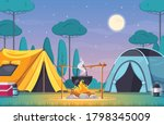 camping composition with two... | Shutterstock .eps vector #1798345009