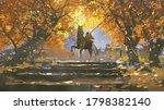 Samurai Riding A Horse In The...