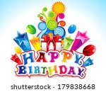 colorful happy birthday card... | Shutterstock .eps vector #179838668