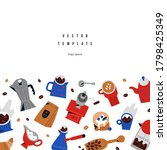 coffee card design template... | Shutterstock .eps vector #1798425349