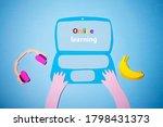 online learning on a laptop... | Shutterstock . vector #1798431373