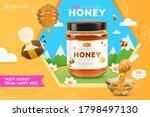 organic honey ad template ... | Shutterstock .eps vector #1798497130
