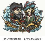 old sea wolf  pirate girl and... | Shutterstock .eps vector #1798501096
