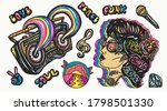 retro funk and hippie music... | Shutterstock .eps vector #1798501330