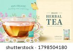 tea cup in 3d illustration with ... | Shutterstock .eps vector #1798504180