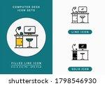 computer desk icons set vector...