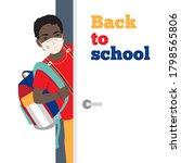 african teen schoolboy with... | Shutterstock .eps vector #1798565806