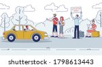 hitchhikers on road thumbing... | Shutterstock .eps vector #1798613443