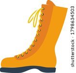 icon of hiking boot. flat color ...