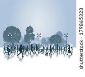 people walking in the park.... | Shutterstock .eps vector #179865323