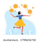 successful woman enjoys money.... | Shutterstock .eps vector #1798656730