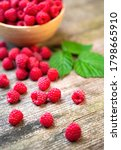 Fresh Ripe Red Raspberries With ...