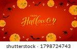pumpkins on red halloween... | Shutterstock .eps vector #1798724743