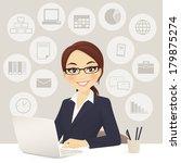 cute businesswoman in office... | Shutterstock .eps vector #179875274