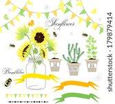 Glass Jars  Sunflowers  Ribbon...