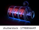 neon light slot casino machine | Shutterstock .eps vector #1798806649