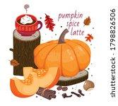 pumpkin spice latte set  coffee ...   Shutterstock .eps vector #1798826506