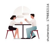 two young people sitting next... | Shutterstock .eps vector #1798832116