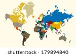 vector paper world map on a... | Shutterstock .eps vector #179894840