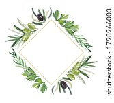 watercolor frame with olive... | Shutterstock . vector #1798966003