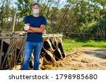 Farmer Is Working Man In Mask...