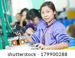 one chinese worker assembling... | Shutterstock . vector #179900288