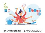 a modern woman with eight arms... | Shutterstock .eps vector #1799006320