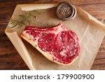 raw beef rib bone  steak  on... | Shutterstock . vector #179900900