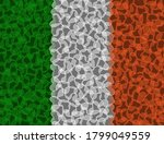 Ireland Flag composed of Hearts Shape. Transparent flag design. Izolated vector Illustration. Use for printing, posters, T-shirts, textile drawing, web. Follow other flags in my collection.