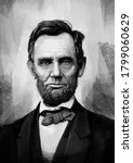 Black and white Portrait painting of Abraham Lincoln