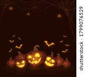 halloween pumpkins on black... | Shutterstock . vector #1799076529