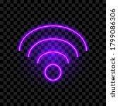 purple neon wifi sign  vector... | Shutterstock .eps vector #1799086306