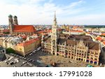 The aerial view of Munich city center from the tower of the Peterskirche - stock photo