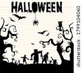 illustration  happy halloween...   Shutterstock . vector #1799104060