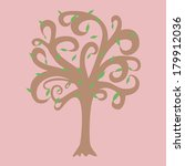 vector tree with leafs  black... | Shutterstock .eps vector #179912036