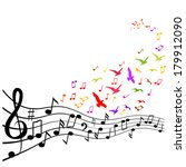 various music notes on stave ... | Shutterstock .eps vector #179912090