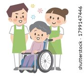 senior woman in wheelchair and... | Shutterstock .eps vector #1799147446