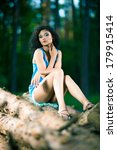 beautiful young woman sitting... | Shutterstock . vector #179915414