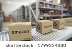 Amazon Logo On Cartons Moving...
