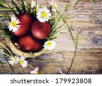 Red Easter Eggs In Basket With...