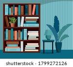 bookshelve with books. home... | Shutterstock .eps vector #1799272126